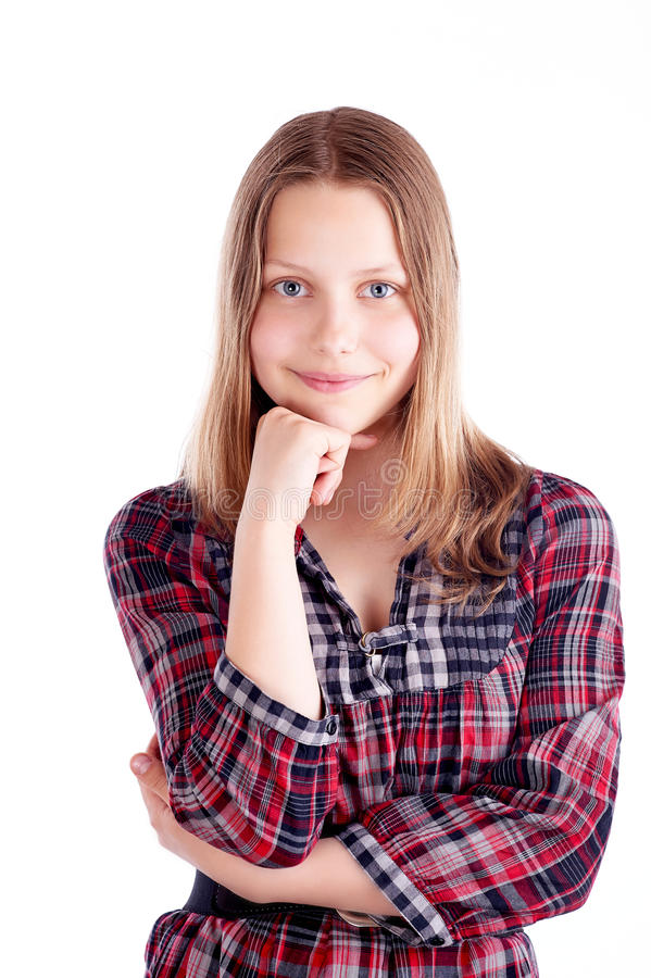 Happy teen girl posing stock photos