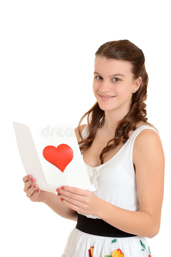 Download Happy Teen Girl With Valentines Card Stock Photo - Image: 28517518