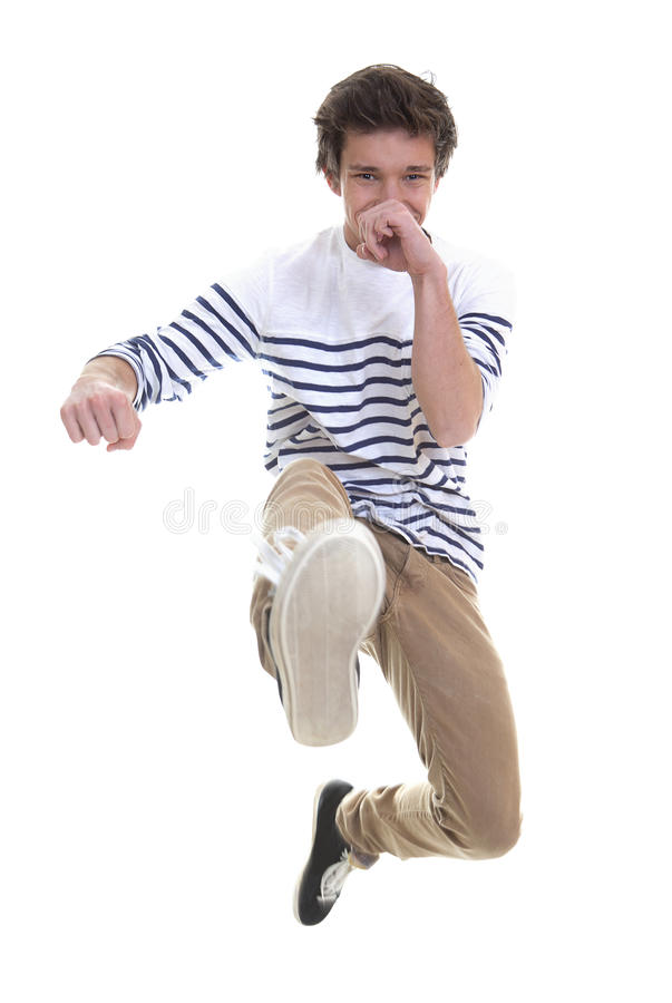 Teen Or Man Jumping Royalty Free Stock Images