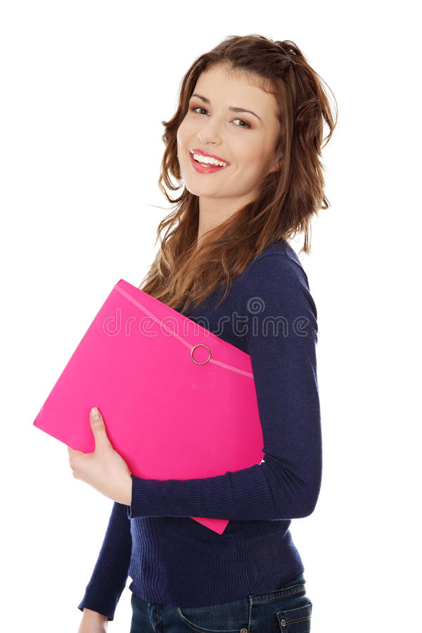 Happy teen student girl stock images