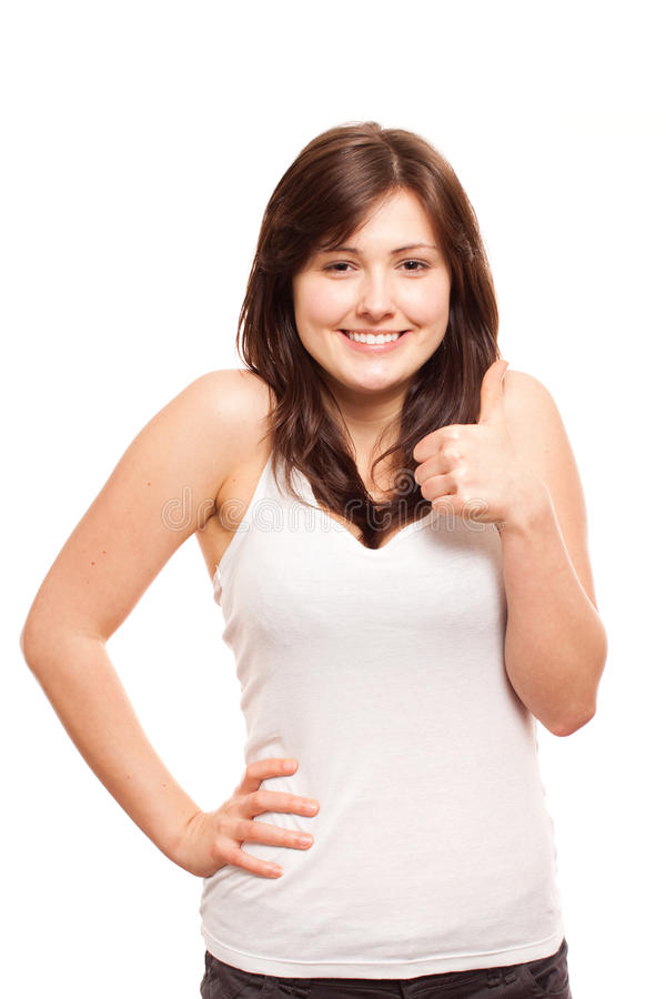Happy teen with thumbs up royalty free stock photo