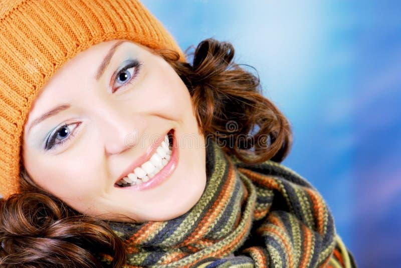 Happy teen in winter concept stock photo