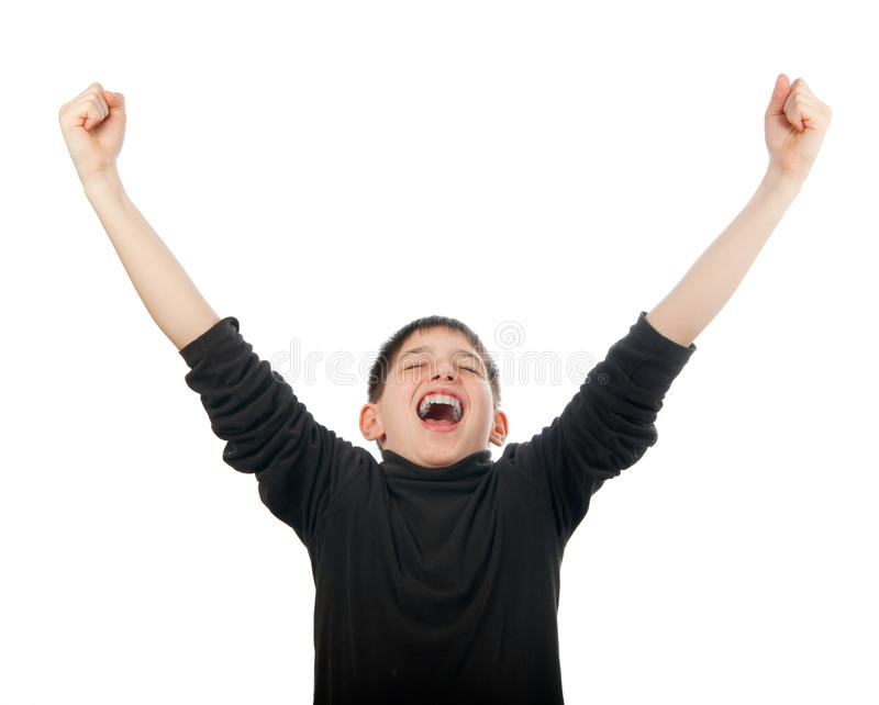 Download Happy Teenage Boy With Hands In The Air Screaming Stock Photo - Image: 23837734