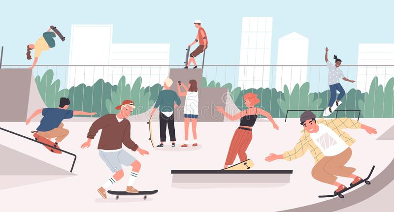 Happy teenage boys and girls or skateboarders riding skateboards at skatepark. Young men and women skateboarding and stock illustration