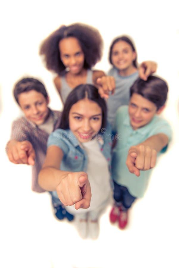 Happy teenage friends stock photos