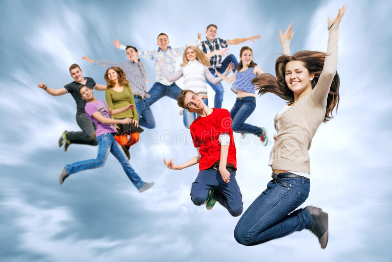 Download Happy Teenage Friends Jumping In The Sky Stock Photo - Image: 40273636