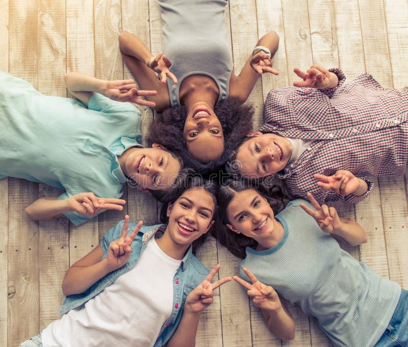 Happy teenage friends royalty free stock image