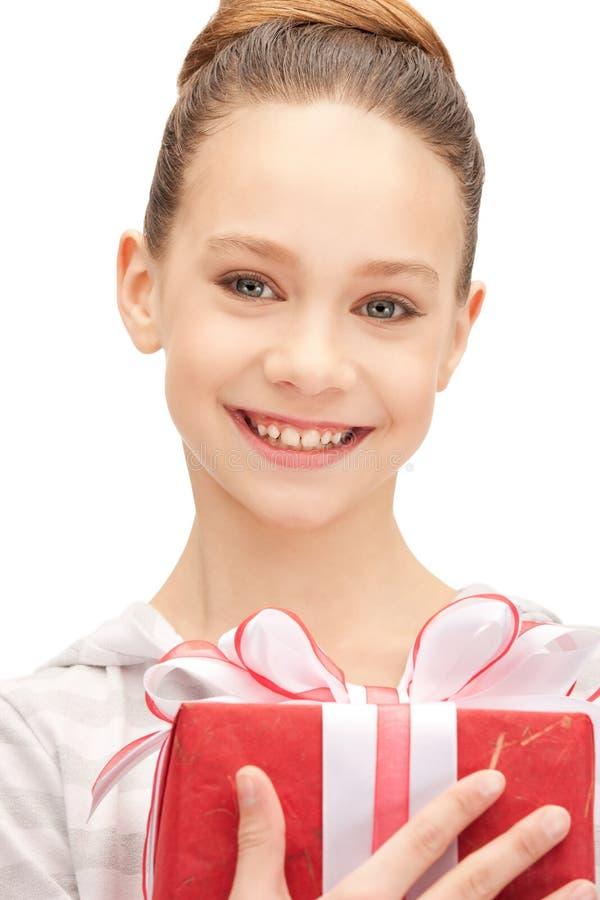 Download Happy Teenage Girl With Gift Box Stock Image - Image of holding, enjoying: 40001771
