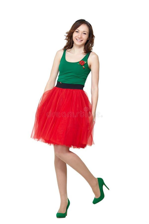 Happy teenage girl wearing summer skir stock image