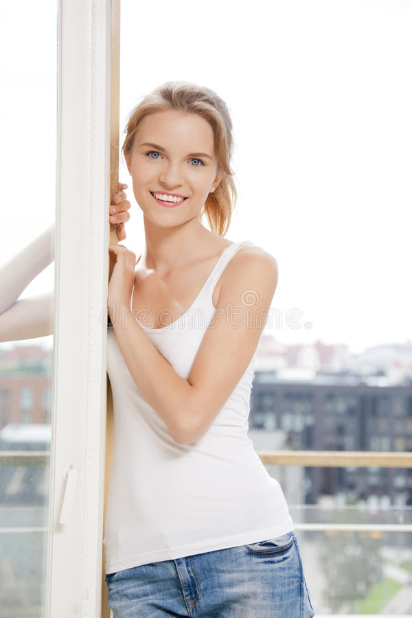 Download Happy Teenage Girl At The Window Stock Image - Image of inside, carefree: 39515099