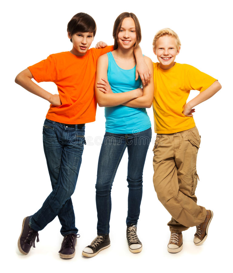 Happy teenage kids stock photography