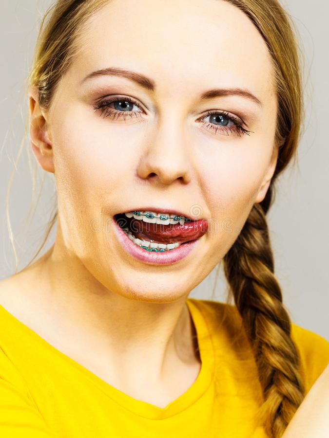 Girl with braces sticking tongue out, celebrities that fuck black rapper