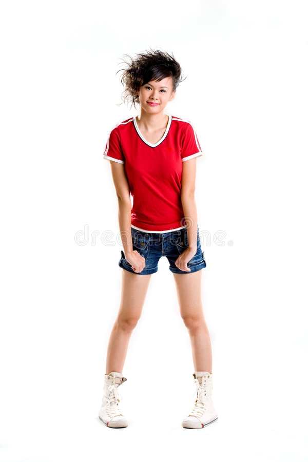 Happy teenager. Posing cute in casual wear stock photography