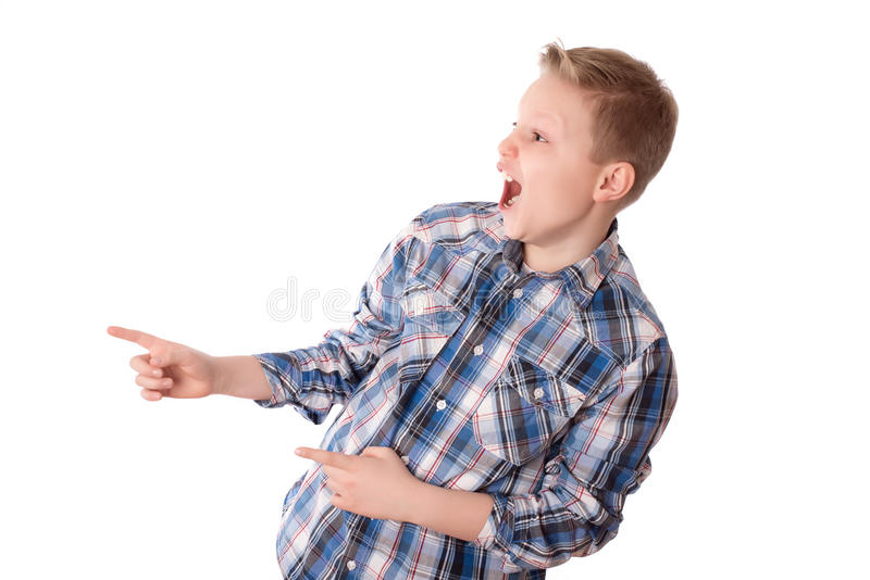 Happy teenager boy over the white. Background stock image