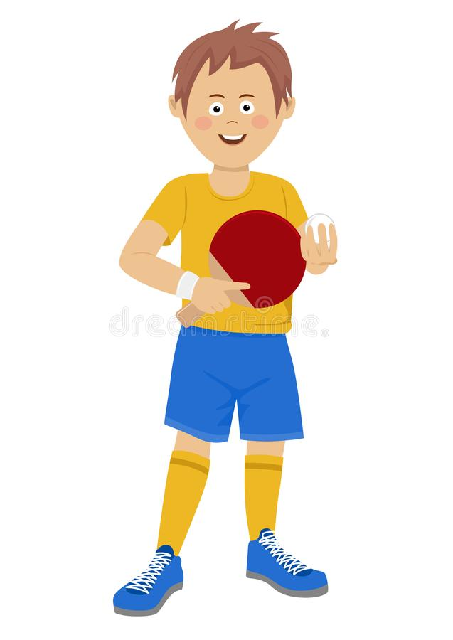 Happy teenager boy with table tennis racket and ball wearing sports wear on white. Background vector illustration