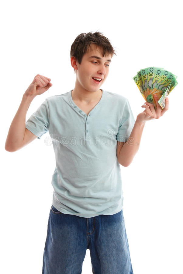 Happy Teenager With Cash Stock Photo
