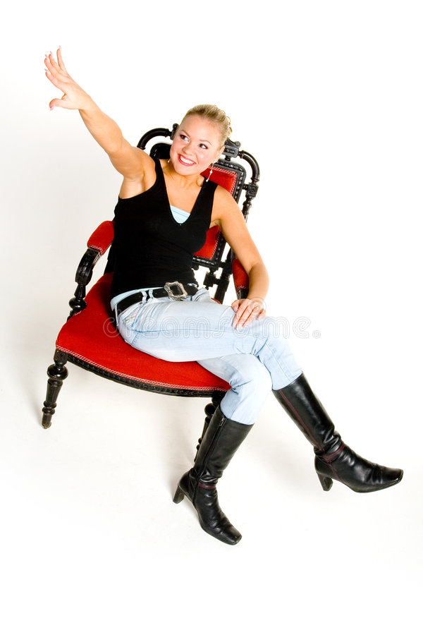 Download Happy teenager on chair stock image. Image of single, hand - 1534441