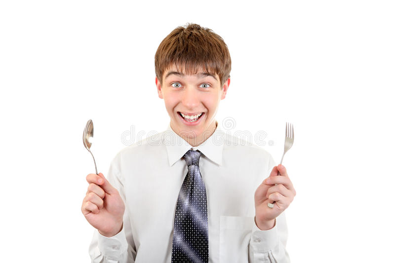 Download Happy Teenager With Cutlery Stock Photo - Image: 33433418