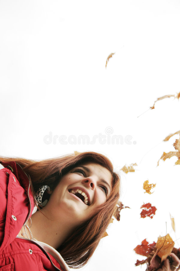 Happy teenager in fall royalty free stock image