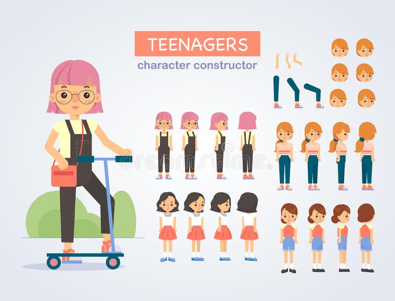 Happy teenager girl character with various views stock photos