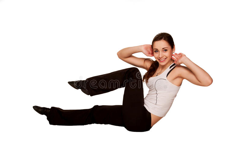 Happy teenager girl playing sports, fitness workout.