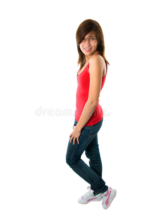 Happy teenager girl on white. Full body picture of happy teenager girl isolated on white stock photos