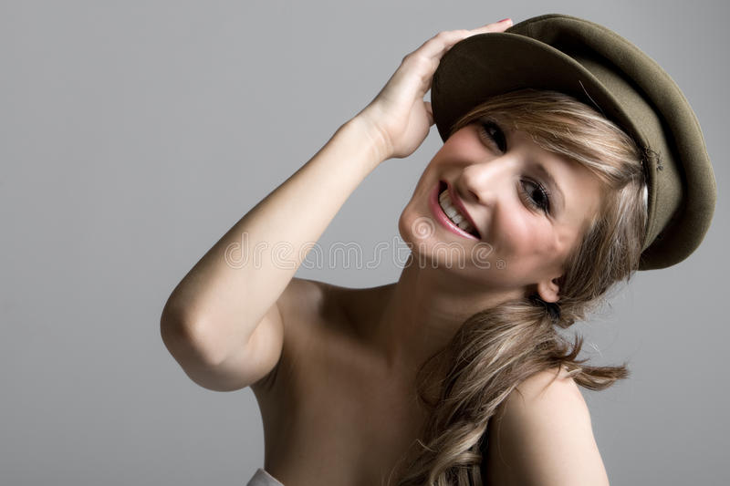 Happy Teenager in Hat. Beautiful Shot of a Happy Teenager in Hat royalty free stock images