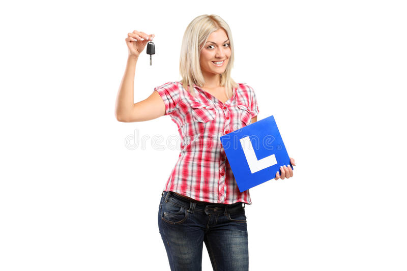 Download Happy Teenager Holding A Car Key And L Plate Stock Image - Image: 20729471