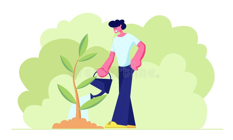 Happy Teenager, Young Man Character Watering Green Seedling in Garden with Water Can. Life Cycle, Time Line and Growth royalty free illustration