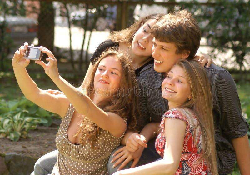 Happy teenagers stock image