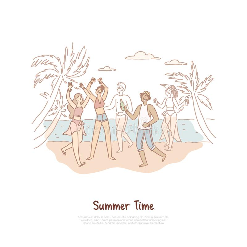 Happy teenagers dancing on shore, young people having fun, musical recreation on tropical island, exotic vacation banner stock illustration
