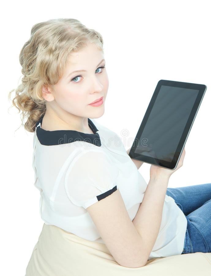 Download Happy Teenege Girl With Tablet Pc Computer Stock Photo - Image of lady, casual: 24979784