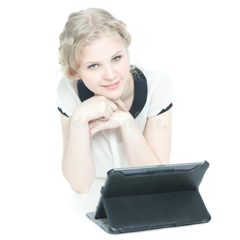 Download Happy Teenege Girl With Tablet Pc Computer Stock Image - Image: 24980111