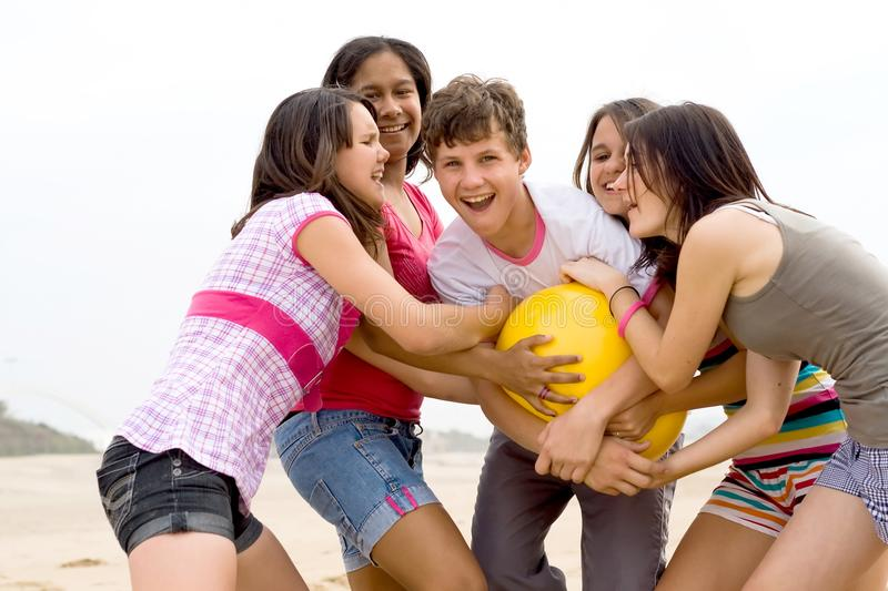 Download Happy teens stock photo. Image of friend, fight, game - 10971826