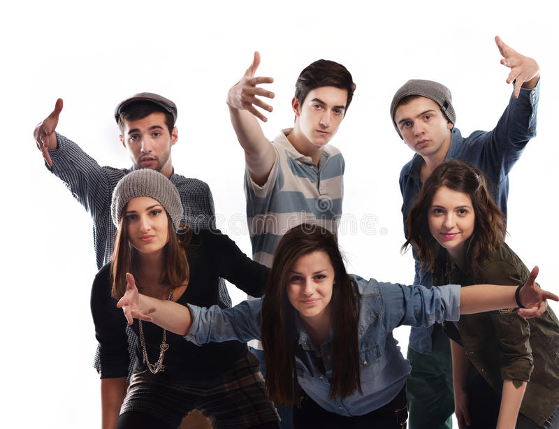 Happy teens group stock photo