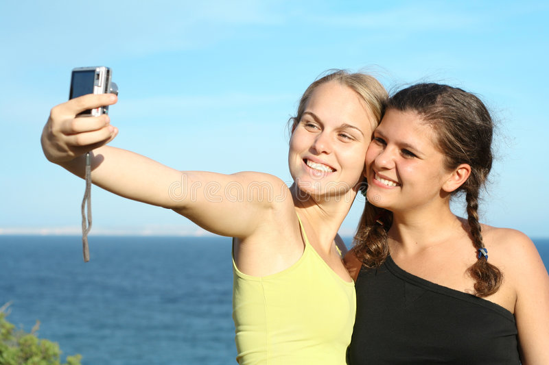happy teens on vacation royalty free stock images
