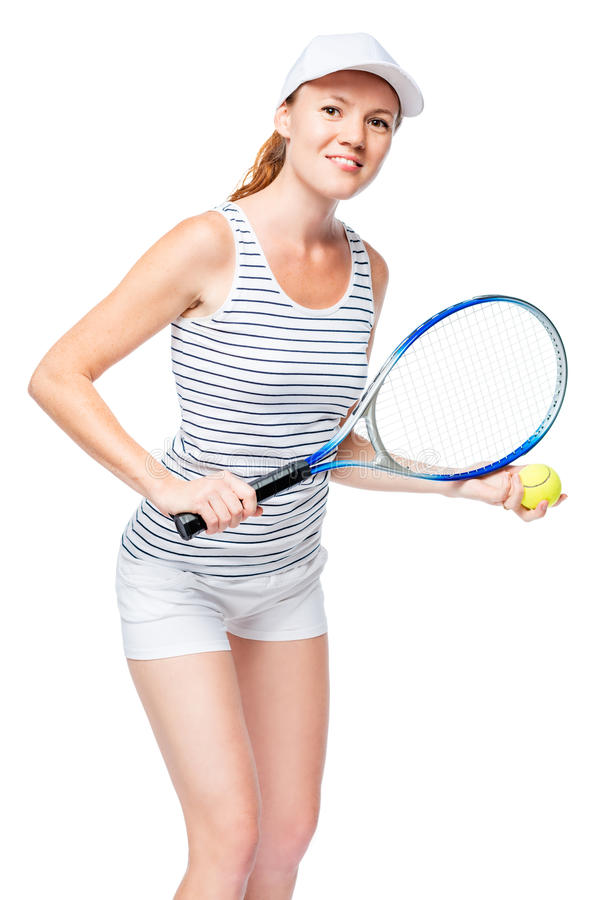 Happy tennis player in shorts and striped T-shirt on white stock image