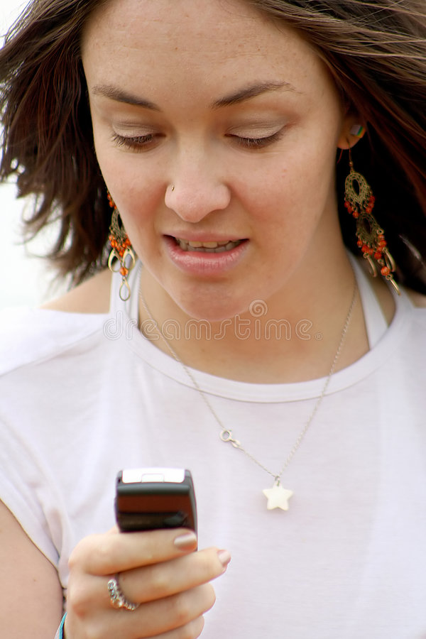 Download Happy texting girl - sally stock image. Image of beautiful - 174481