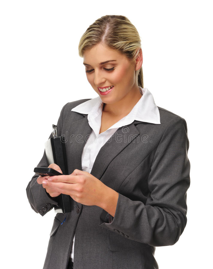 Happy Texting Woman Royalty Free Stock Image