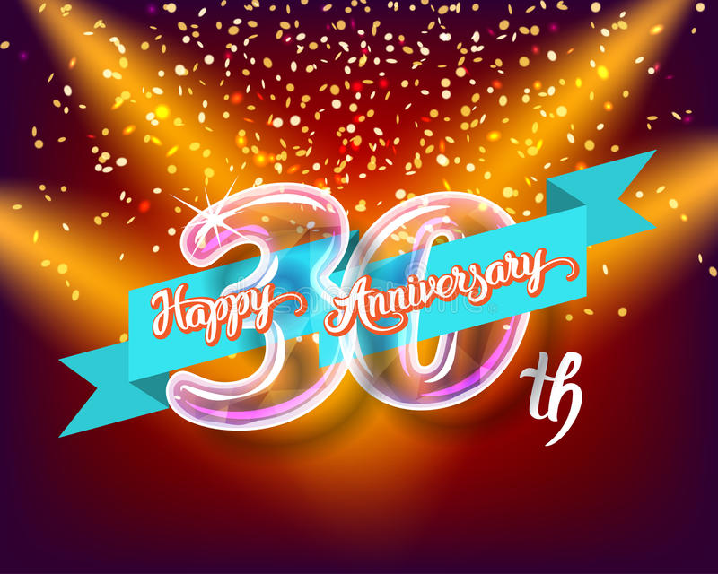 Happy 30th anniversary glass bulb numbers set royalty free illustration