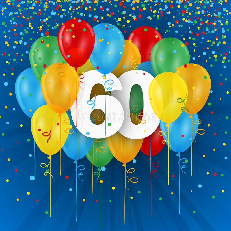 Happy 60th Birthday / Anniversary card with balloons vector illustration
