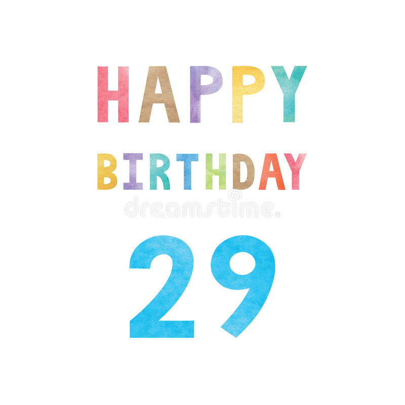 Happy 29th Birthday Anniversary Card Stock Vector Illustration Of