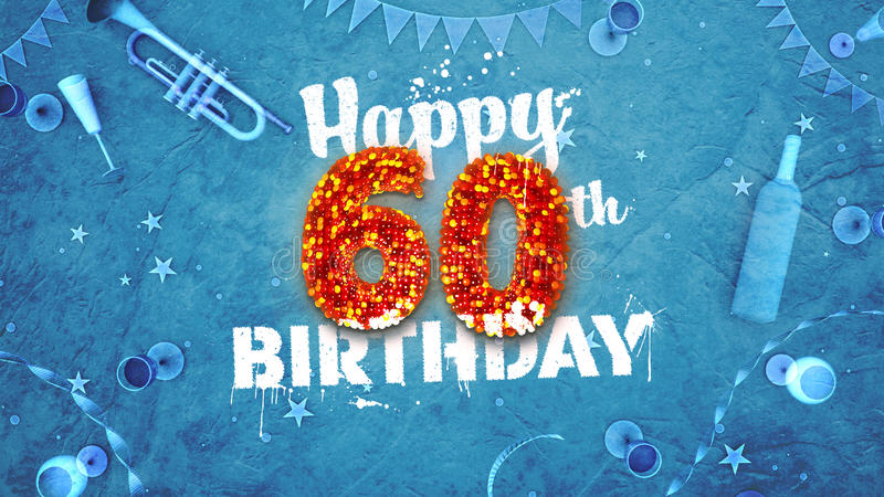 Happy 60th Birthday Card with beautiful details stock illustration