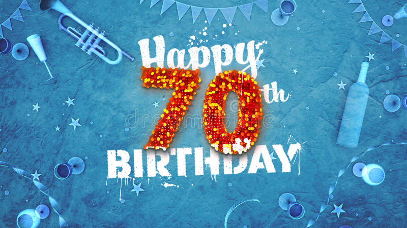 Happy 70th Birthday Card with beautiful details. Such as wine bottle, champagne glasses, garland, pennant, stars and confetti. Blue background, red and yellow vector illustration