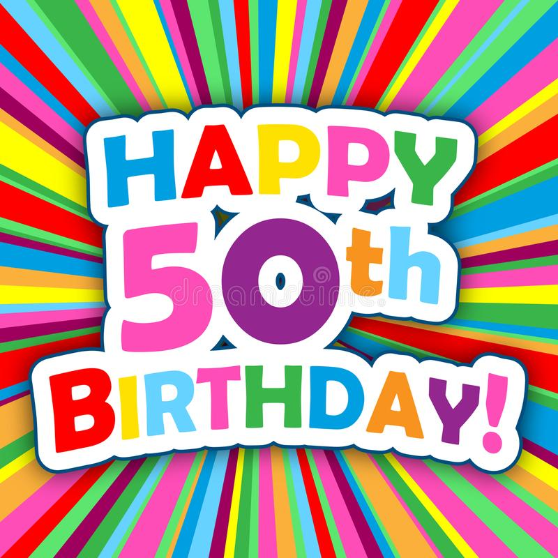 Happy 50th Birthday Card On Colorful Vector Background Stock