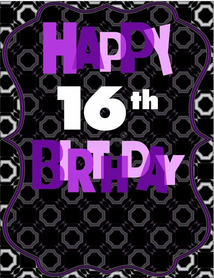 Happy 16th Birthday Card. Purple elegant royalty free illustration