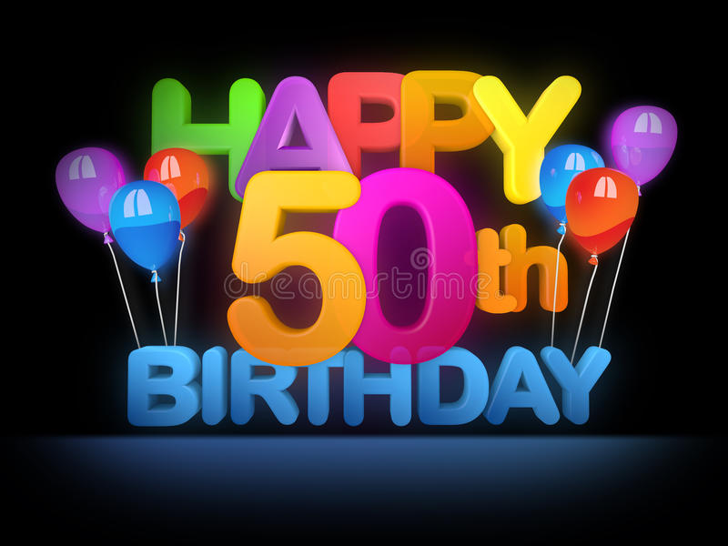 Happy 50th Birthday, dark. Happy 50th Birthday Title in big letters with colourful Balloons, dark Background royalty free illustration