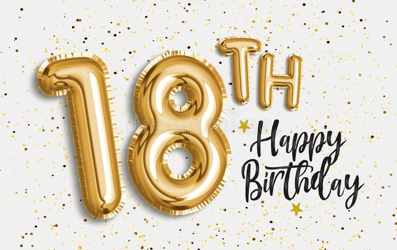 Happy 18th birthday gold foil balloon greeting background. 18 years anniversary logo template- 18th celebrating with confetti. Photo stock vector illustration