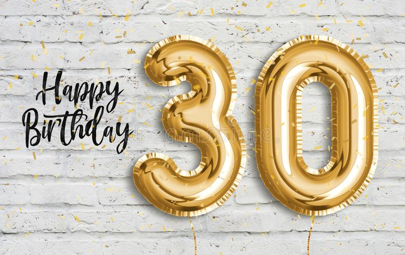 Happy 30 th birthday gold foil balloon greeting white wall background. vector illustration