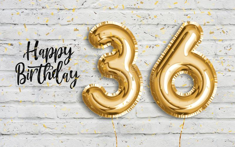 Happy 36 th birthday gold foil balloon greeting white wall background. 36 years anniversary logo template- 36th celebrating with confetti. Photo stock vector illustration